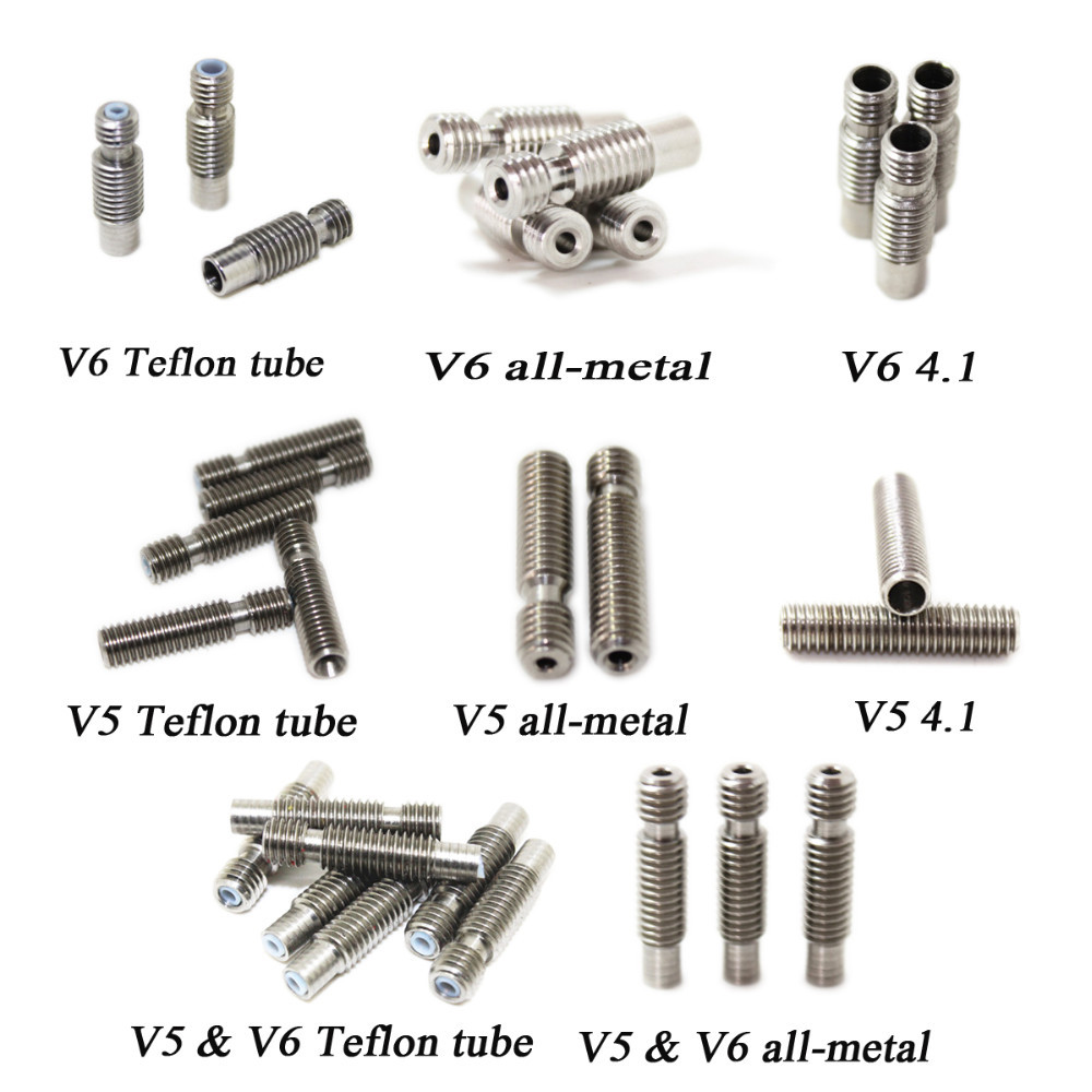 8 Type! 5pcs 3D Printer Nozzle throat with Teflon tube or All metal or 4.1mm Through-hole for 1.75 or 3.0mm 3D V5 & 3D V6 J-Head8 Type! 5pcs 3D Printer Nozzle throat with Teflon tube or All metal or 4.1mm Through-hole for 1.75 or 3.0mm 3D V5 & 3D V6 J-Head