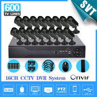 600TVL CCTV 16pc outdoor Waterproof IR Cameras h.264 DVR recorder Kit 16channel security video system SK 029