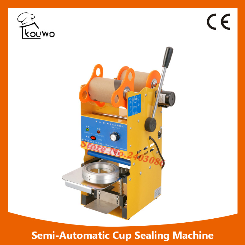 KW-F05 Professional semi automatic fruit juice food plastic cup sealing machine for beverage