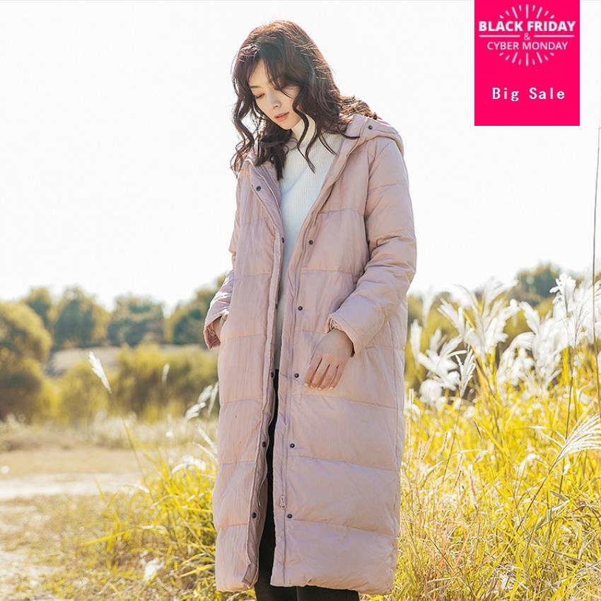 High-quality super longer hooded thicker   down   jacket female luxurious single breasted stitching zipper warm   down     coats   wq657