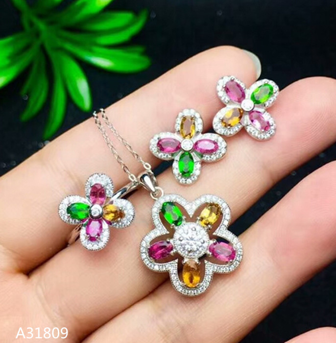 цена на KJJEAXCMY Boutique jewelry 925 pure silver inlaid natural tourmaline necklace necklace, earring, ring set, ellipse and micro dro