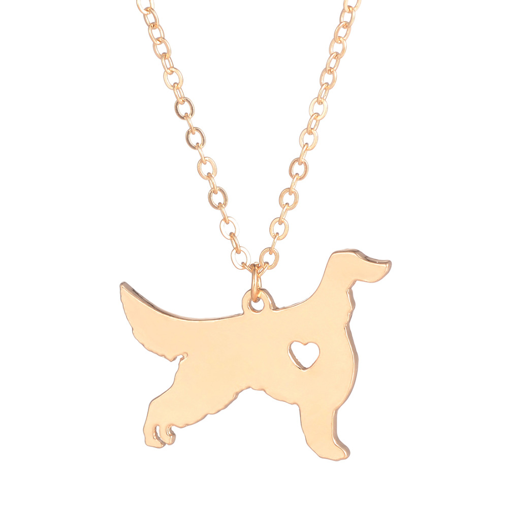 Guld Silver 1pc Irländsk Setter Halsband Custom Dog Present Pet Lover Hundar Pet Memorial Rescue Dog Hängande Julklapp Hund älskare
