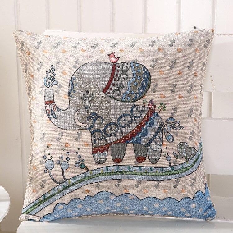 Linen Cotton Pillow Cove Elephant Indian Cute Nation Pattern Cushion Cover for safa Home Decorative Pillow Case 45x45cm