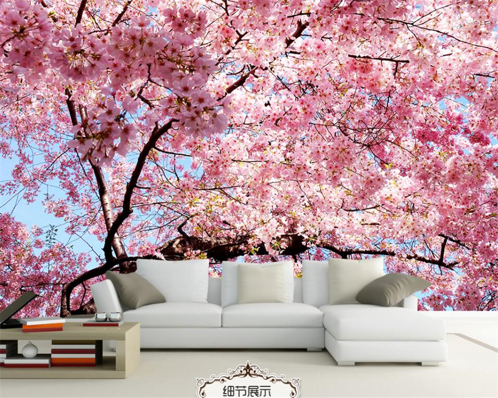 Beibehang photo wallpaper 3d stereo cherry blossom wall for Wallpaper one wall in living room