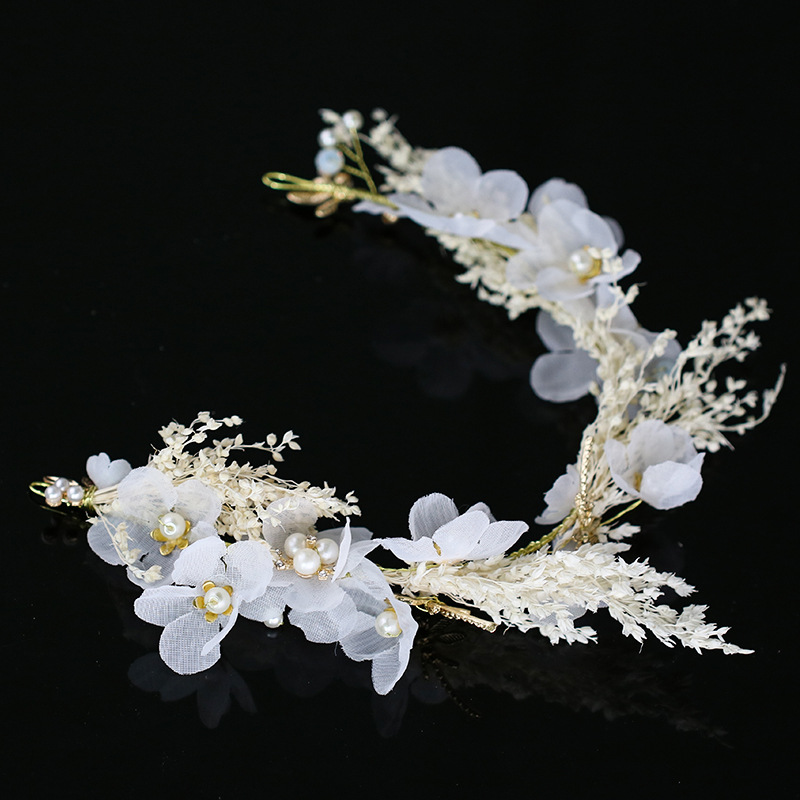 Wedding White Flower Crown: Wedding Hair Accessories For Women Floral Tiaras Girls