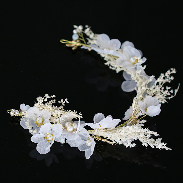 Wedding Hair Accessories For Women Floral Tiaras Girls White Flower