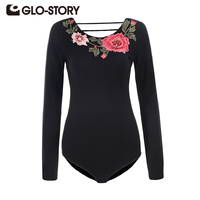 GLO STORY Women's 2018 Floral Embroidery Long Sleeve Sweater Bodysuit Ladies Casual Streetwear Blackless Bodys Tops WMY 5681
