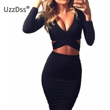 Long Sleeve Autumn Winter Women Sexy Criss Night Club Wear Bandage Bodycon Party Dresses White Black