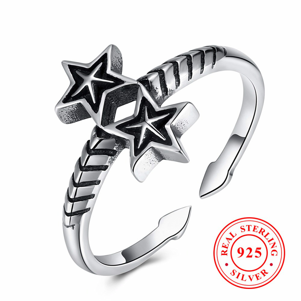 Classic Open 100% 925 Sterling Silver Wedding Pan Ring For Men Women Bohemia Double Stars Arrow Female Engagement Rings