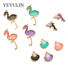 10pcs Trendy Alloy Flamingo Dolphin Shell Enamel Charms Lovely DIY Pendant Handmade Jewelry For Necklace Bracelet