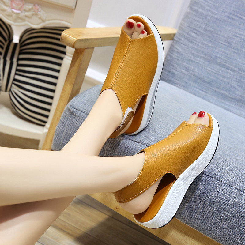 Bomlight Summer Women Wedges Sandals Women Peep Toe Creepers Woman Shoes Platform Sandals Woman Hook Loops Sandalias Mujer 35-43 1