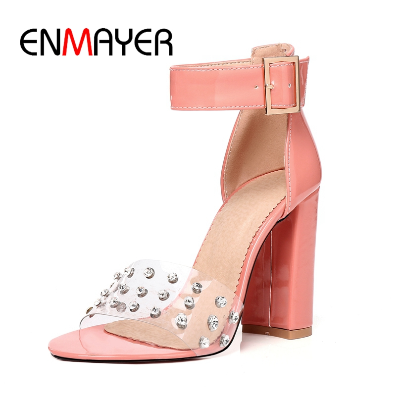 ENMAYER Buckle strap Shoes Women High heels Sandals Big Size 34-47 Summer Casual Strap Thick Metal decration CR83