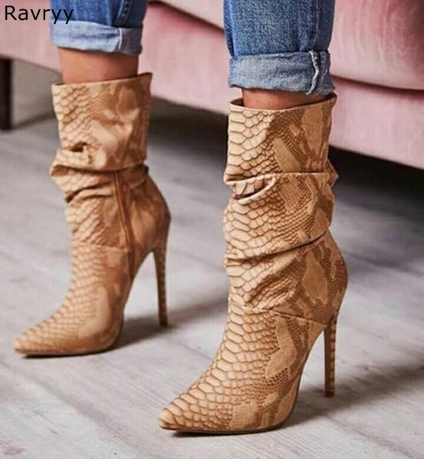 Woman Ankle Boots Brown Snakeskin Pointed Toe Short