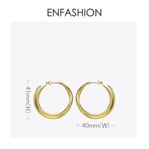 Image 5 - أقراط للنساء من ENFASHION الشرير مزدوجة على شكل حرف C ، أقراط دائرية بمنحنى هندسي كبير ، أقراط مجوهرات Aros EC191043