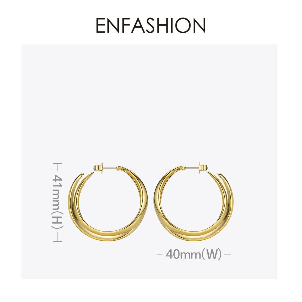 Image 5 - ENFASHION Punk Double C Hoop Earrings For Women Big Geometric Curve Circle Round Hoops Earings Statement Jewelry Aros EC191043Hoop Earrings   -