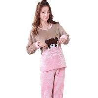 Flannel Pajama Pants Women Cartton Bear Printing Winter Autumn Long Sleeve Home Sleepwear Good For Cold