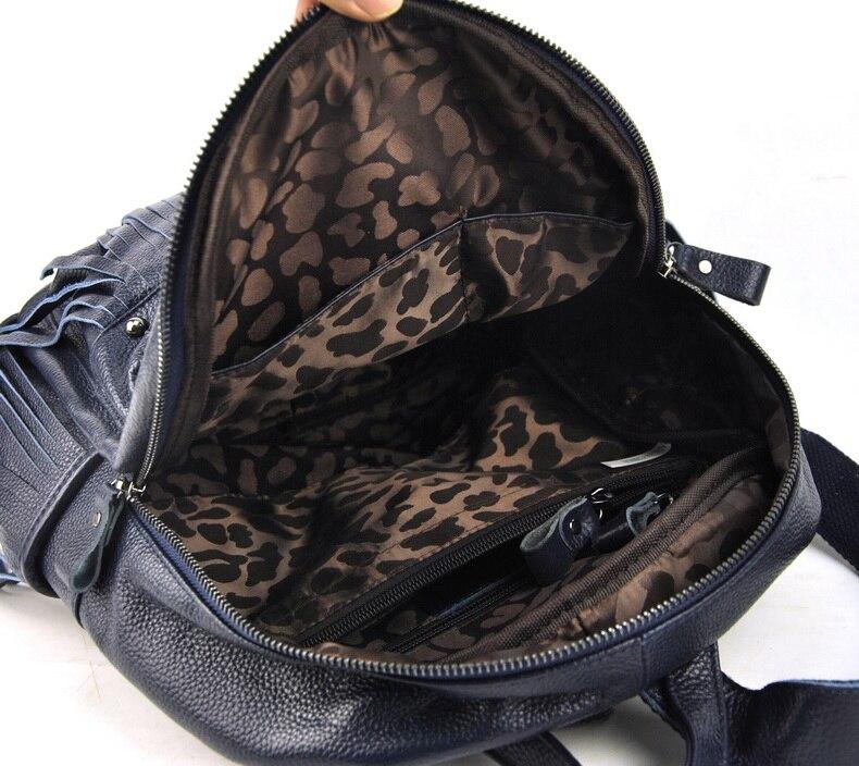 Women Genuine Real Leather Backpack Tassel Fringe Punk Rock Bag Back To School Book Fashion Casual Shoulder Purse Travel Daily - 5