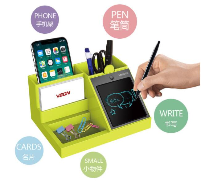 LCD Writing Pad Multifunctional Pen Holder Remote Controller Holder Business Cards Moible Phone Holder Office Desk Storage