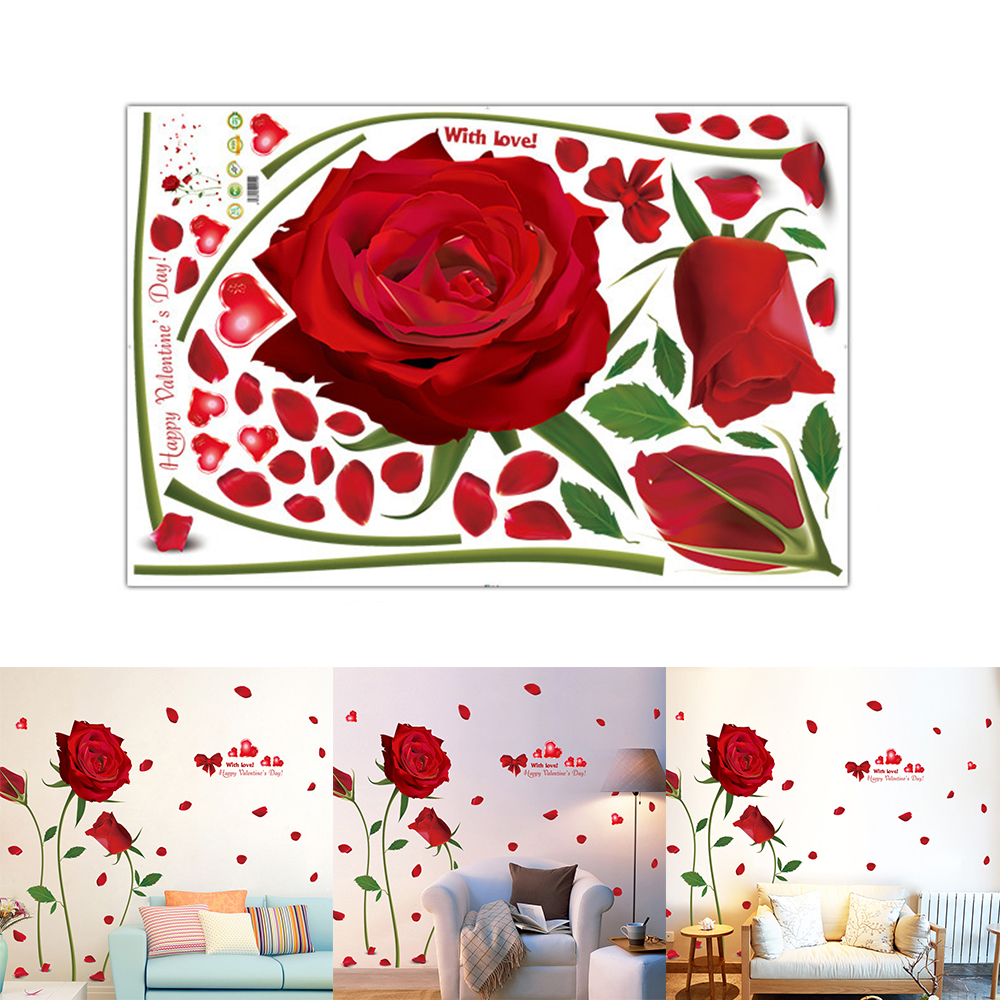 Romantic red roses wall stickers creative removable wall stickers sitting room bedroom window wall stickers cabinets decorative in wall stickers from home