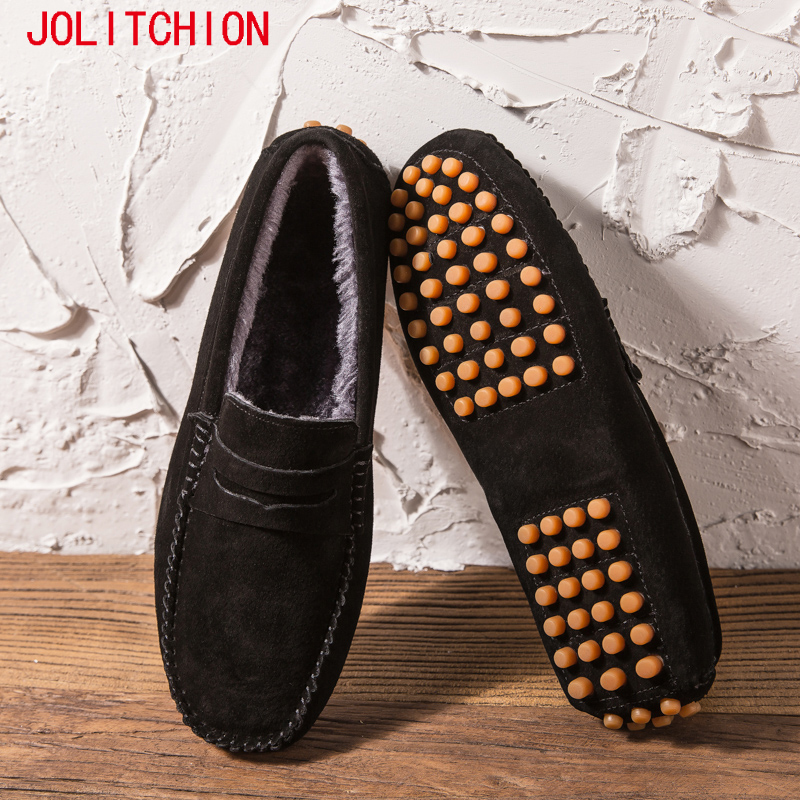 Brand Fashion Winter Men's Casual Shoes Moccasins Men Loafers High Quality Suede Leather Shoes Men Flats Gommino Driving Shoes