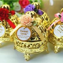Милые thurible формы Золотой Серебряный пластик свадебные коробки с цветком, by4502