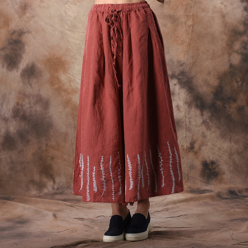 Johnature Embroidery Wide Leg Pants Elastic Waist Cotton Linen Trouser 2019 Spring Vintage High Quality Plus