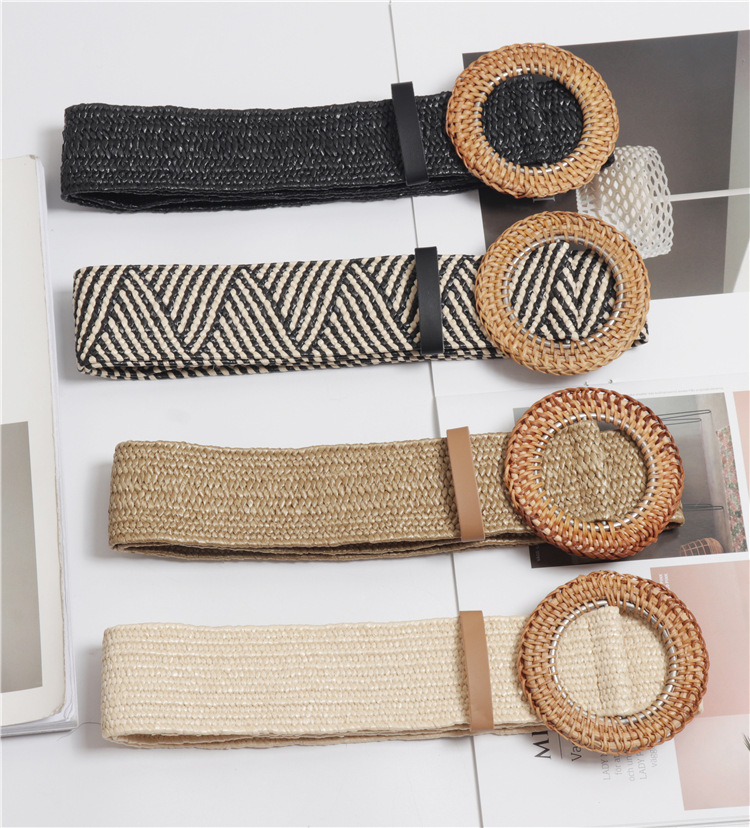 Wood Buckle Elastic Braided Belts For Women High Quality Fashion Designer Luxury Brand PP Fake Straw Leisure Wide Belt BZ48