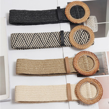Wood buckle Elastic Braided belts for women high quality Fas