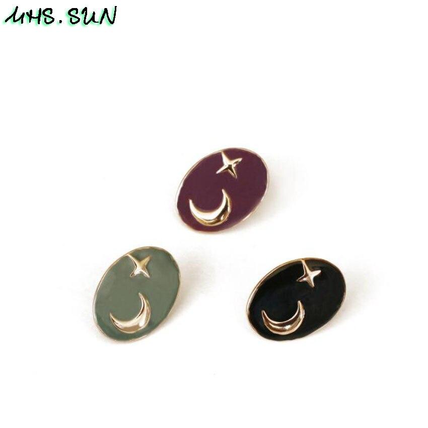 15-1 (1),TE015,$2.3,6个颜色,星月滴油耳钉星星月亮小众设计黑色椭圆形创意耳饰