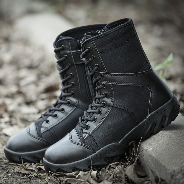 Men s Army Combat Boots Lightweight Mesh Tactical Combat Boots Black  Military Shoes Waterproof Sports Breathable Hiking Boots 730790d1ccb