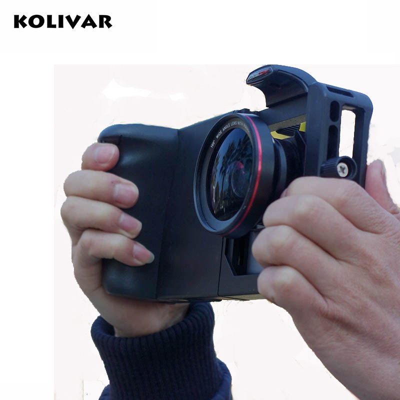 KOLIVAR Smart Phone Grip Cage with Wide Angle Macro Lens Bluetooth for iPhone Samsung HTC Universal Adjustable Camera Housing slr phone bluetooth control photographic equipment camera cinema moun with wide angle lens and macro lens suits for mobile phone