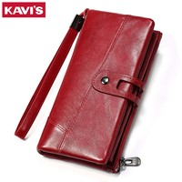 KAVIS Wallet Genuine Leather Women Purse Clutch Coin Purse Long Walet Portomonee Clamp for Money Bag Handy Strap card holder
