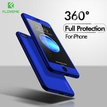 FLOVEME 360 Tam Kapsama iPhone için kılıf 6 6 s 7 8 Artı iPhone 5 s 5 SE X XR XS Max temperli Cam PC arka kapak Aksesuarları Çap...