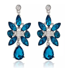 SBY0777 New Fashion luxury Beads rhinestone Wind Stud Blue Stone earrings women jewelry free shipping
