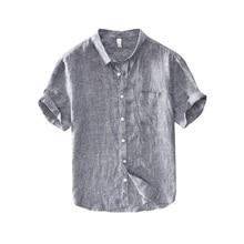 Summer Fashion Men Shirts Vintage Designer Gray Casual Stripe Short Sleeve Lapel 100% Linen Business Dress Tee