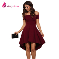 Berydress Elegant Women Plus Size Cocktail Party Skater Dress Off Shoulder With Sleeve Stretchy Burgundy High