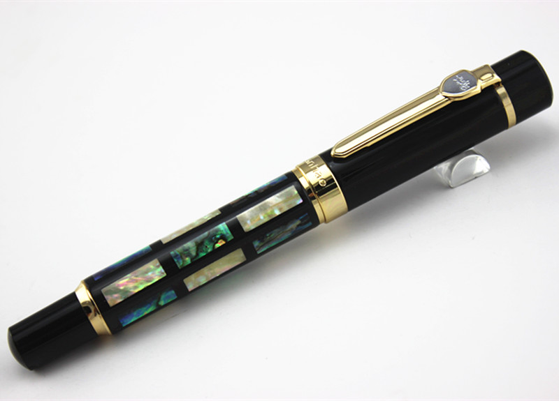 JINHAO 650 Colorful Shells inlaid and Golden Clip M Nib Fountain Pen Luxury Business Gift Pen Inking Pens for Writing women s fashion rhinestone inlaid ear bone clip golden