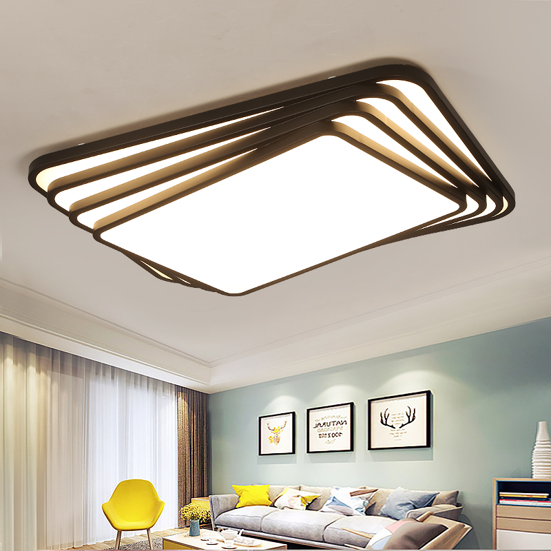 NEO Gleam Rectangle/Square Minimalism Living Study Room Bedroom Ceiling Lights Modern led Ceiling Lamp Fixtures plafonnier black or white rectangle living room bedroom modern led ceiling lights white color square rings study room ceiling lamp fixtures