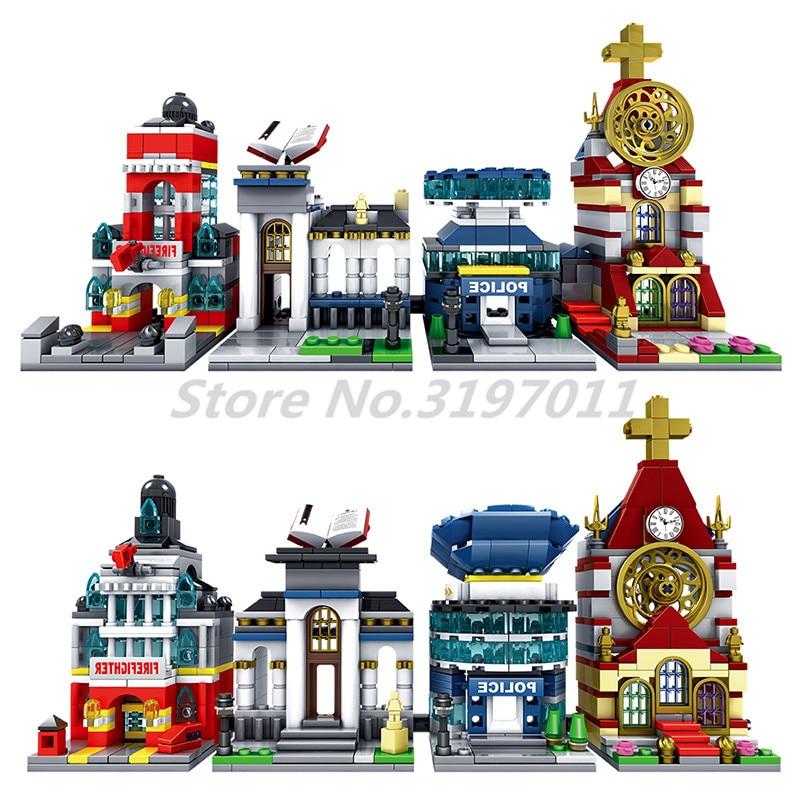 Blocs de construction 2in1 Ville Bibliothèque Police Fire Station Architecture Mini Rue Scène Vue Église Modèle Jouets Éducatifs Pour Enfants