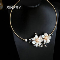 SINZRY original design handmade Baroque freshwater pearl Elegant flower chokers necklace band for Women bridal jewelry Gift