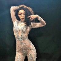 Car Show Bright Big Rhinestones Jumpsuit Stretch Leggings Nightclub Singer Dancer Show Wear Women's Prom Party Sexy Bodysuit