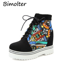 Bimolter Woman Winter Warm Print Boots Height Increasing Ankle Boots Women Lace-up Round Toe Platform Shoes Size 33-43 PAEA018 цена