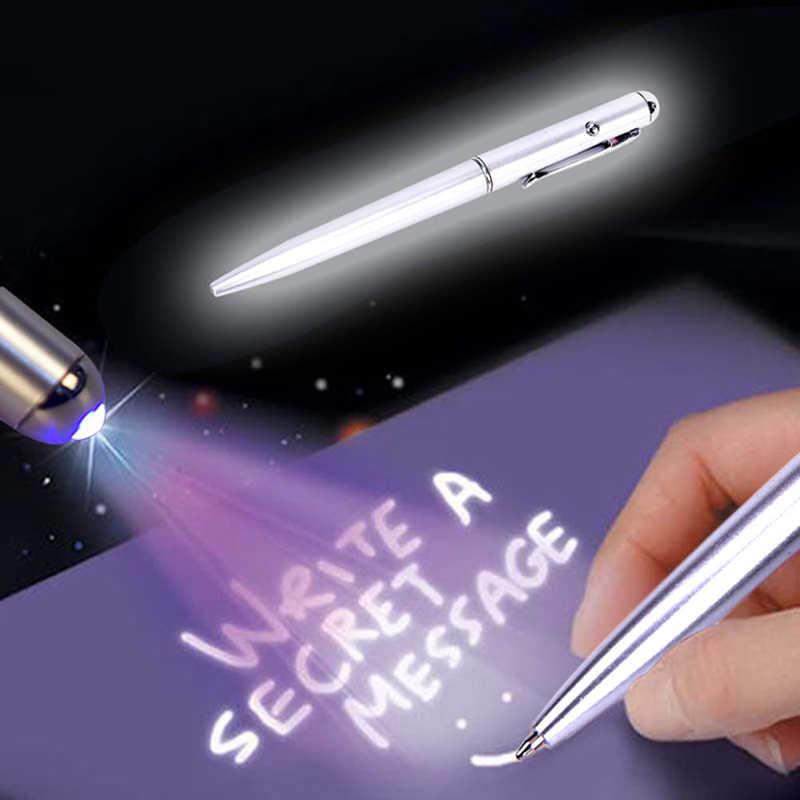 1Pcs Kreatif Magic LED Sinar UV Pulpen dengan Tinta Tak Terlihat Rahasia Spy Pen