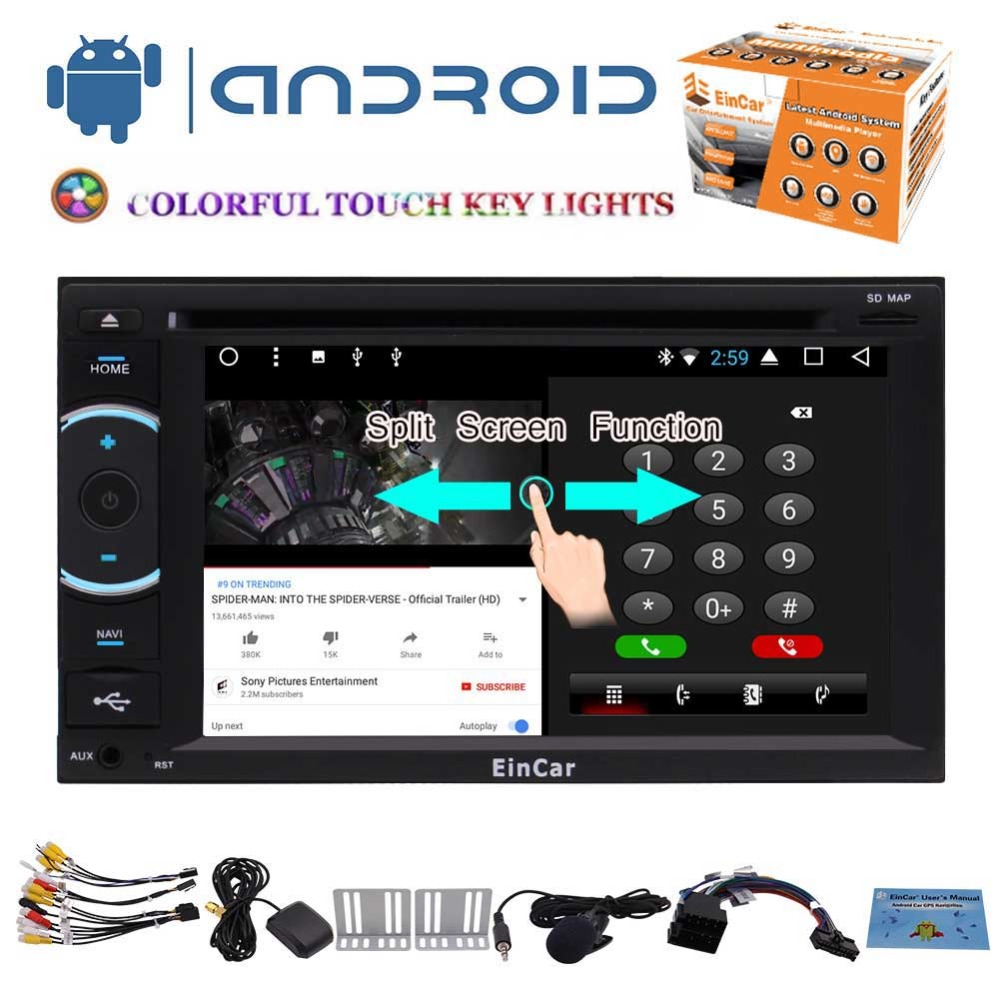 Android 7.1 Car Stereo 2 Din 6.2 Inch Touch Screen Car DVD Radio Player In Dash GPS Navigation System Support Bluetooth WiFi