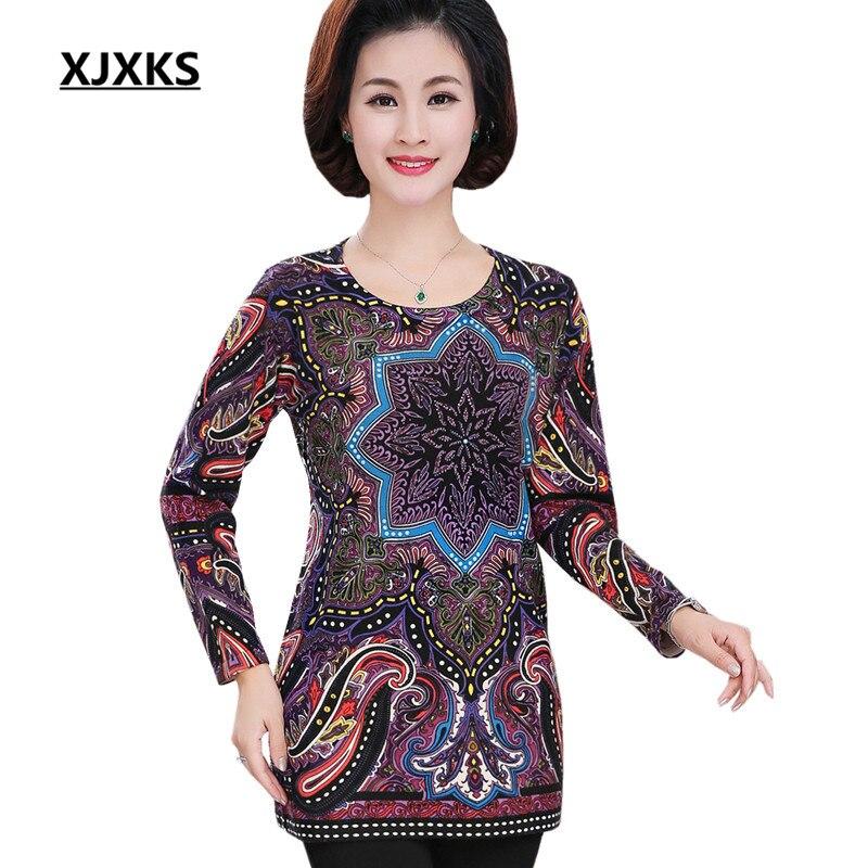 XJXKS New 2018 autumn and winter women long sweater loose plus size fashion printing round neck