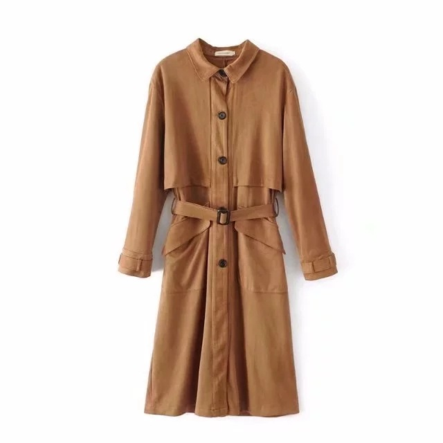 2019 Top Selling Spring New Arrival Suede Womens   Trench   Coats Elegant Single Breasted Long   Trench   Coat With Sash Free Shipping