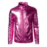 Metallic Coated Jacket Men/Women Brand Design Stand Collar Night Club Lightweight Jackets and Coats Rose Red Varsity Jackets Men
