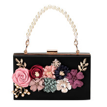 Women Acrylic Flower Clutches Crossbody Floral Purse Beaded Evening Bags For Wedding Prom Party все цены