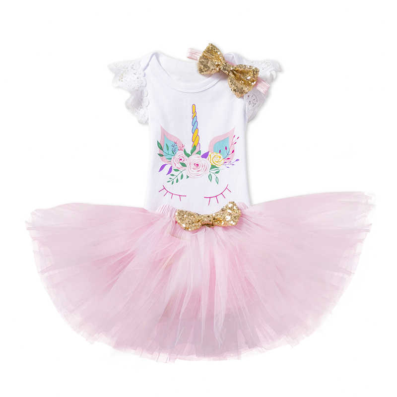 04d1eb44a Detail Feedback Questions about Newborn Baby Girl Unicorn Floral 1st Birthday  Party Clothes Toddler Kids Girls Lace Romper Bodysuit Tutu Dress Skirts  3Pcs ...