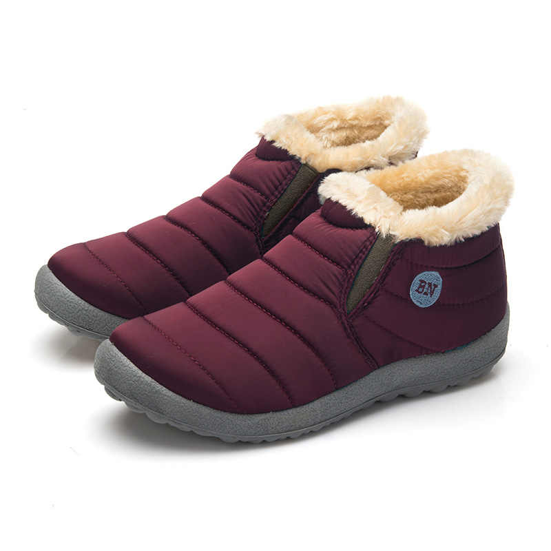 Waterproof Women Winter Shoes Couple Unisex Snow Boots Warm Fur Inside Antiskid Bottom Keep Warm Mother Casual Boots Size35-48